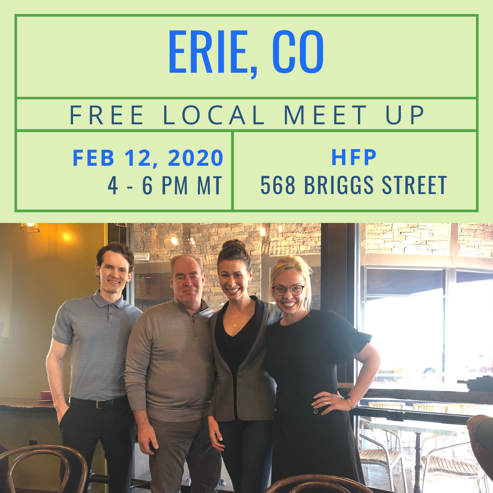 Free Local Meet-Up in Erie, CO on February 12, 2020