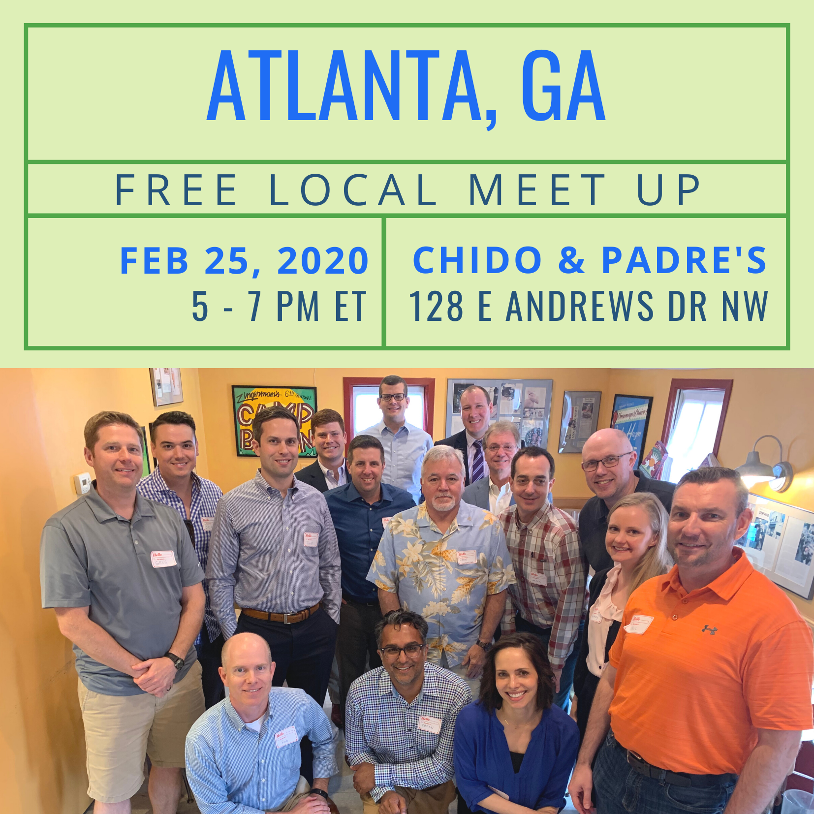 Free Local Meet-Up in Atlanta on Wednesday, February 26