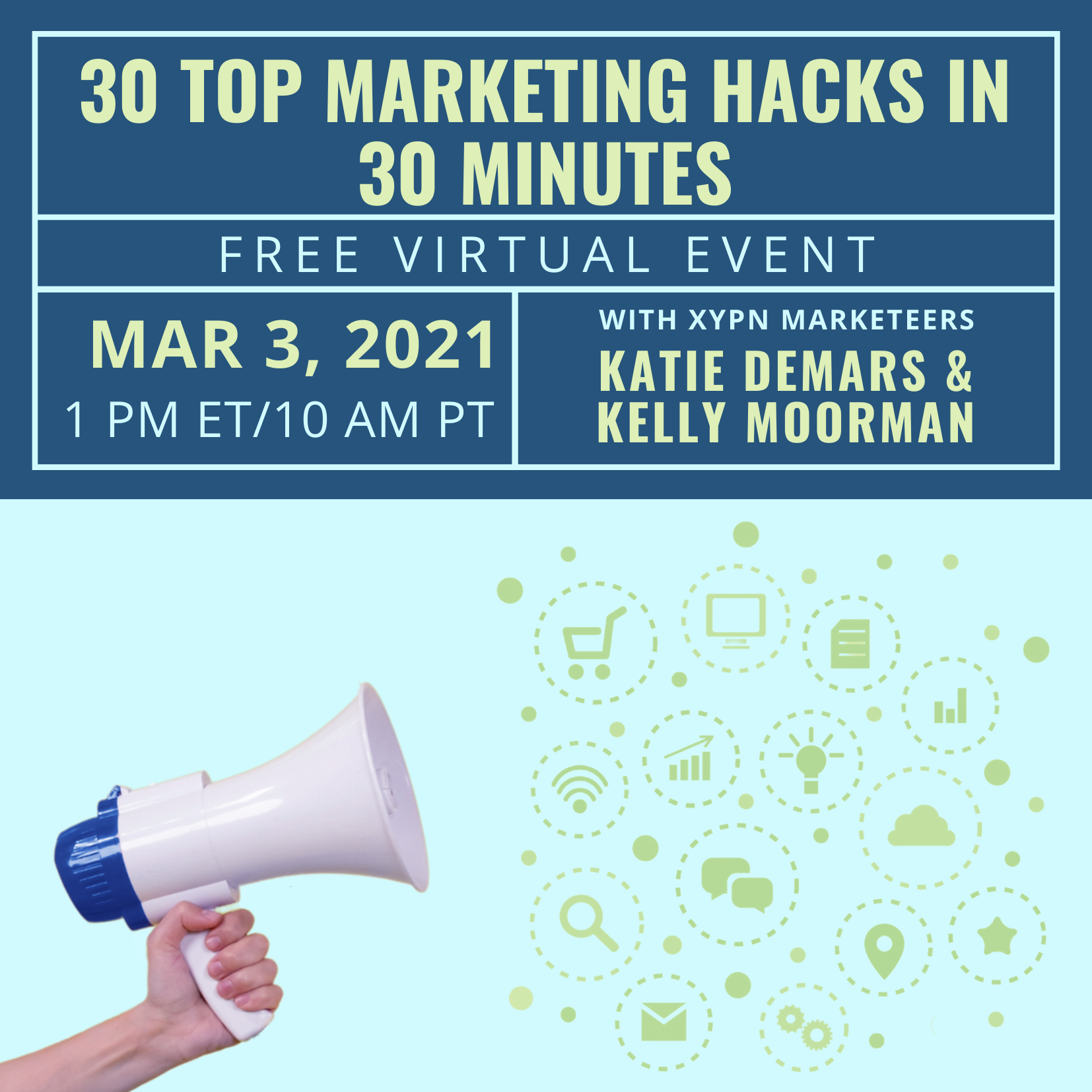 Free Virtual Event: 30 Top Marketing Hacks in 30 Minutes