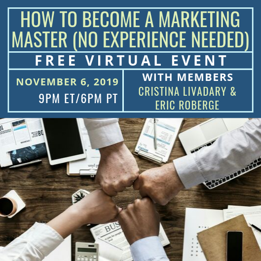 Free Virtual Event: How to Become a Marketing Master (No Experience Needed)